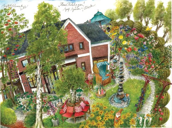 """""""Haus Rehhagen"""" Aquarell u. Zeichnung von Ingrid M. Schmeck © 2010, Lübeck"""